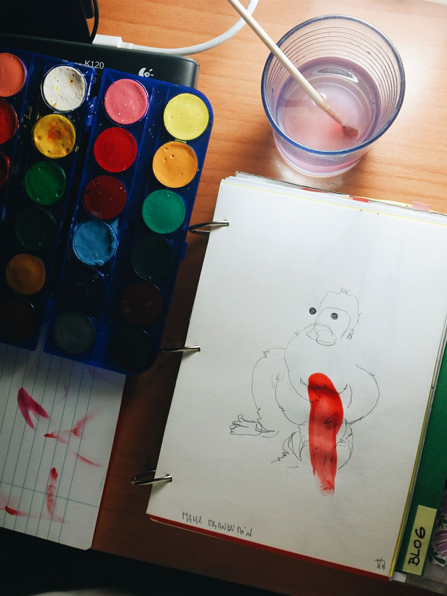 "Dibujando sin mirar. Escuchando ""Twice"" de Little Dragon."